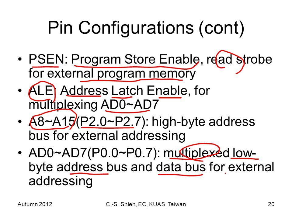 Autumn 2012C.-S. Shieh, EC, KUAS, Taiwan20 Pin Configurations (cont) PSEN: Program Store Enable, read strobe for external program memory ALE: Address