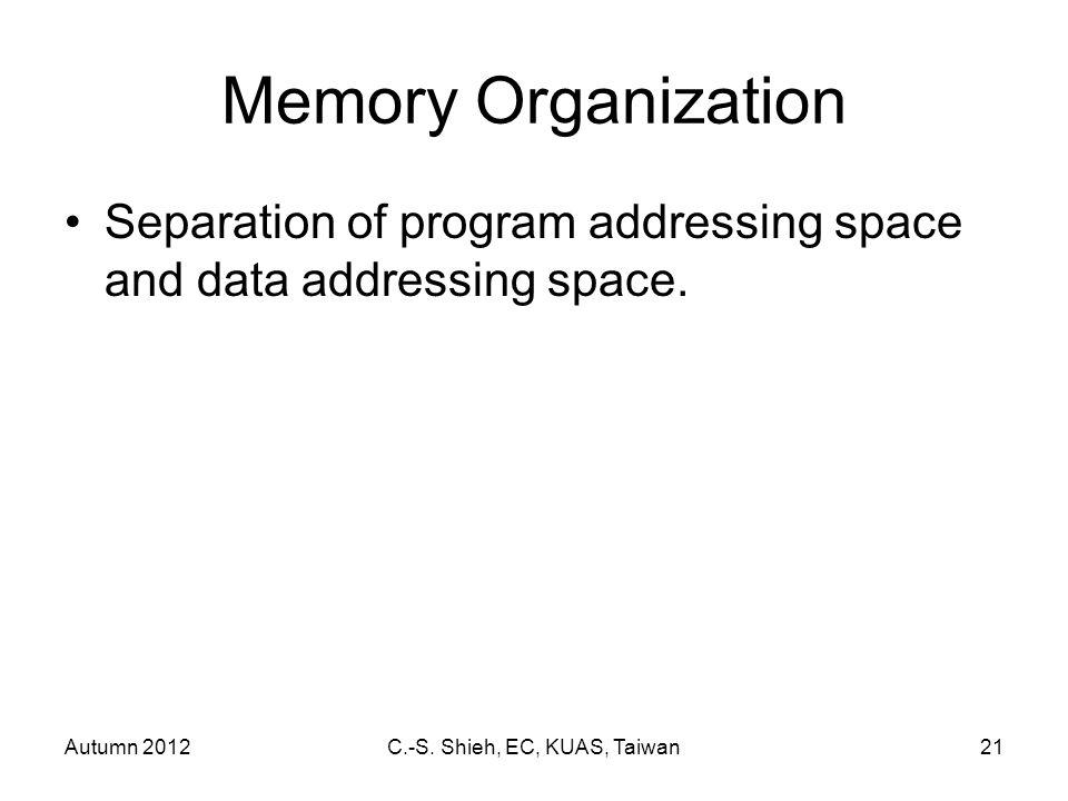 Autumn 2012C.-S. Shieh, EC, KUAS, Taiwan21 Memory Organization Separation of program addressing space and data addressing space.