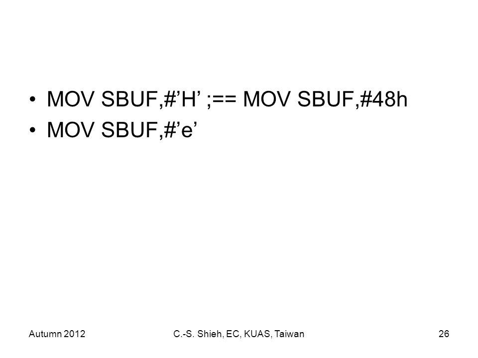 Autumn 2012C.-S. Shieh, EC, KUAS, Taiwan26 MOV SBUF,#'H' ;== MOV SBUF,#48h MOV SBUF,#'e'