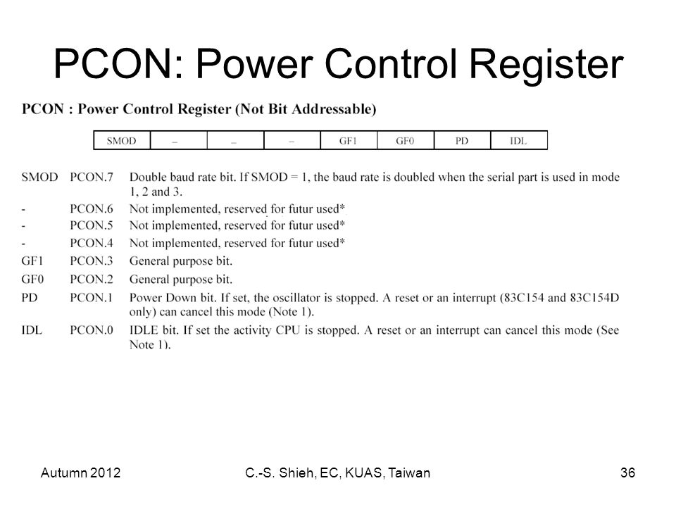 Autumn 2012C.-S. Shieh, EC, KUAS, Taiwan36 PCON: Power Control Register