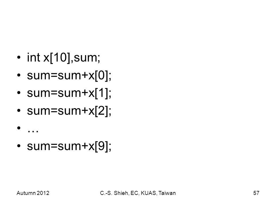 Autumn 2012C.-S. Shieh, EC, KUAS, Taiwan57 int x[10],sum; sum=sum+x[0]; sum=sum+x[1]; sum=sum+x[2]; … sum=sum+x[9];