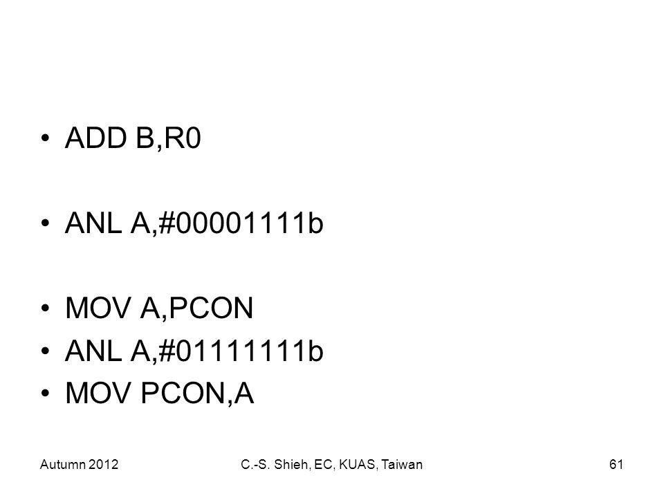 Autumn 2012C.-S. Shieh, EC, KUAS, Taiwan61 ADD B,R0 ANL A,#00001111b MOV A,PCON ANL A,#01111111b MOV PCON,A