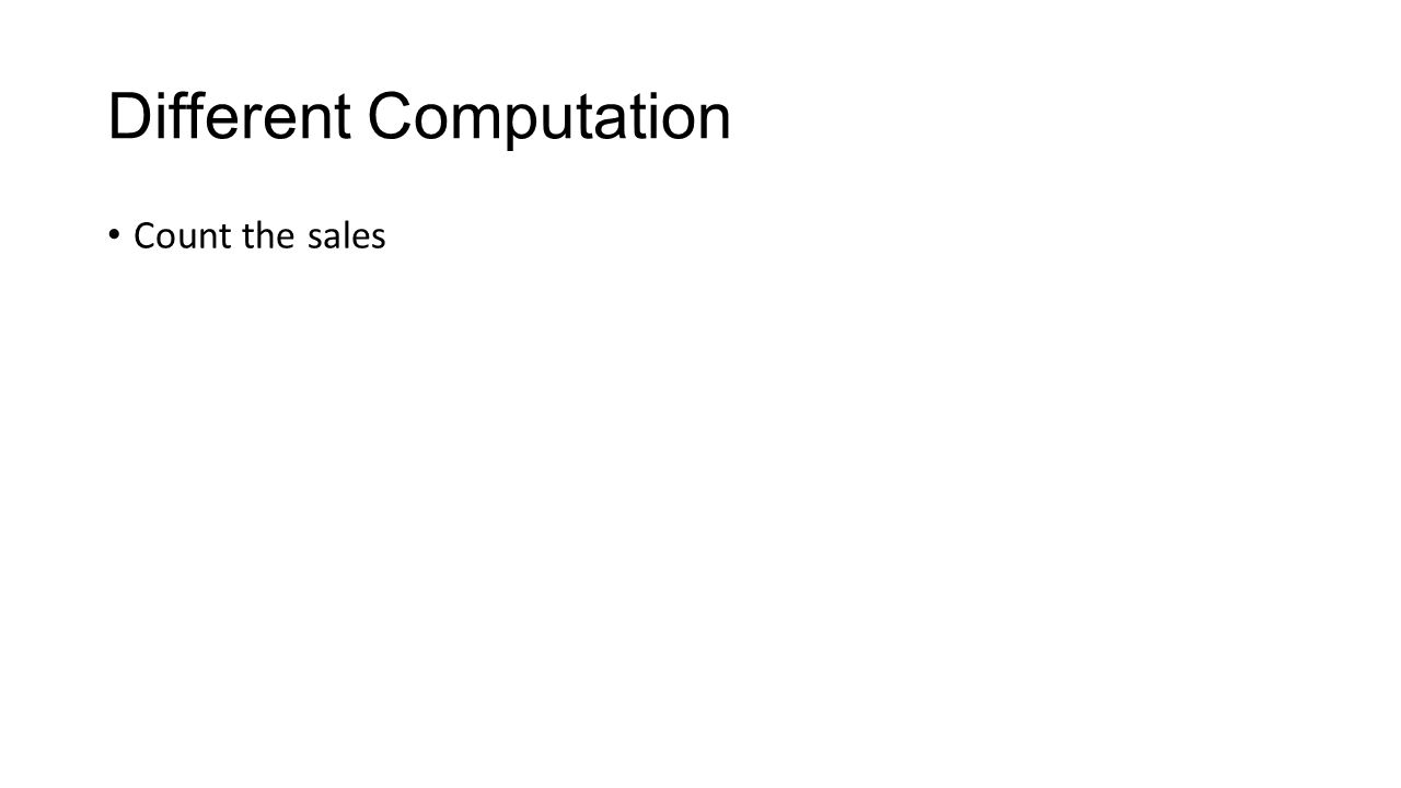 Different Computation Count the sales