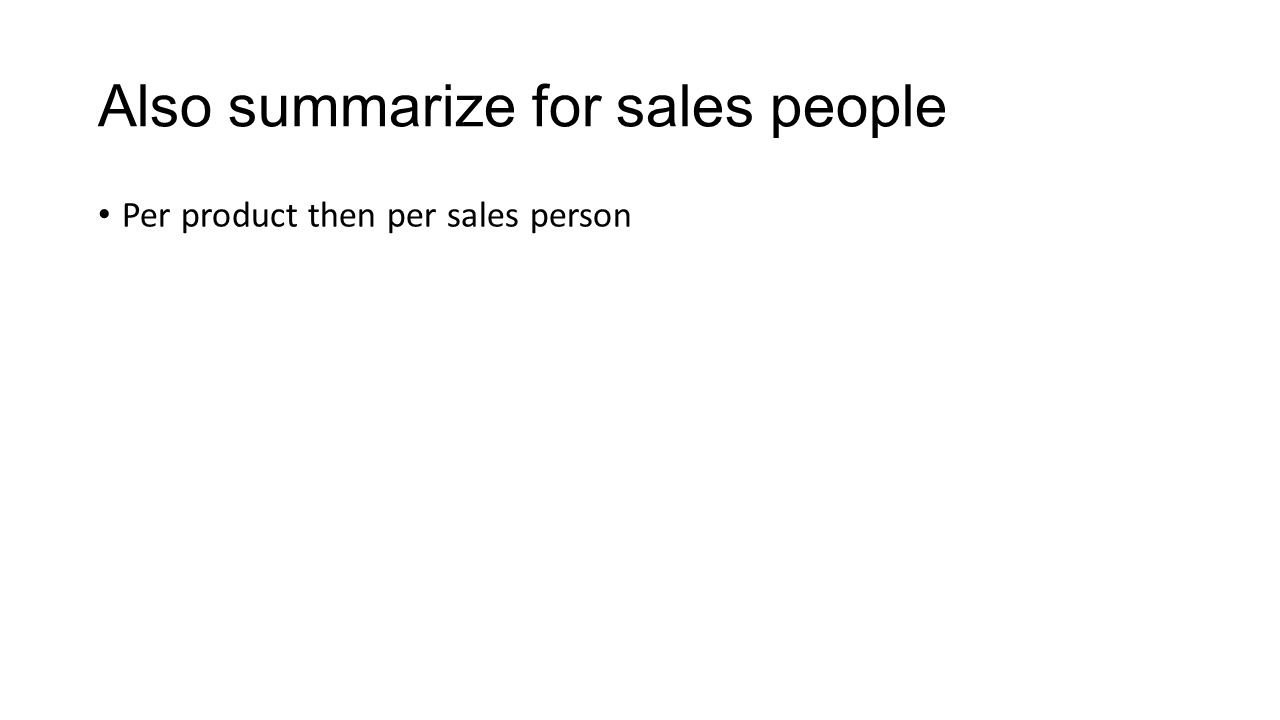 Also summarize for sales people Per product then per sales person