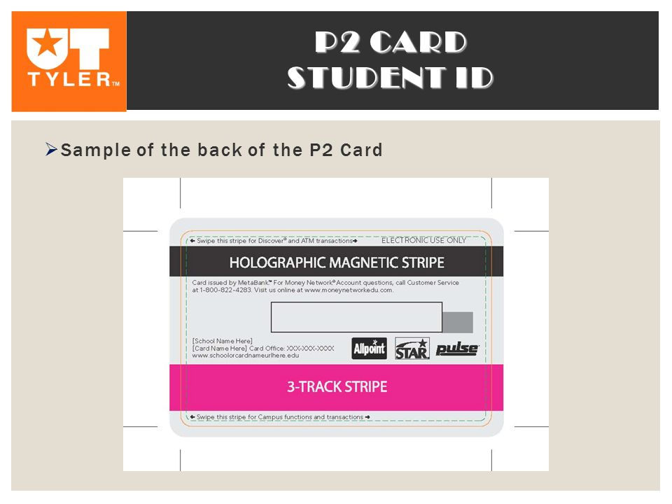 P2 CARD STUDENT ID  Sample of the back of the P2 Card