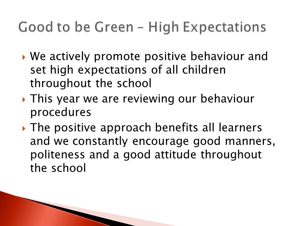  We actively promote positive behaviour and set high expectations of all children throughout the school  This year we are reviewing our behaviour procedures  The positive approach benefits all learners and we constantly encourage good manners, politeness and a good attitude throughout the school