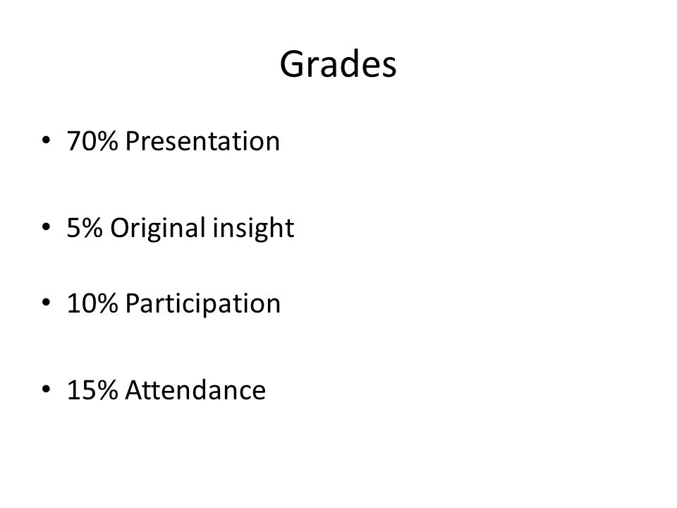 Grades 70% Presentation 5% Original insight 10% Participation 15% Attendance
