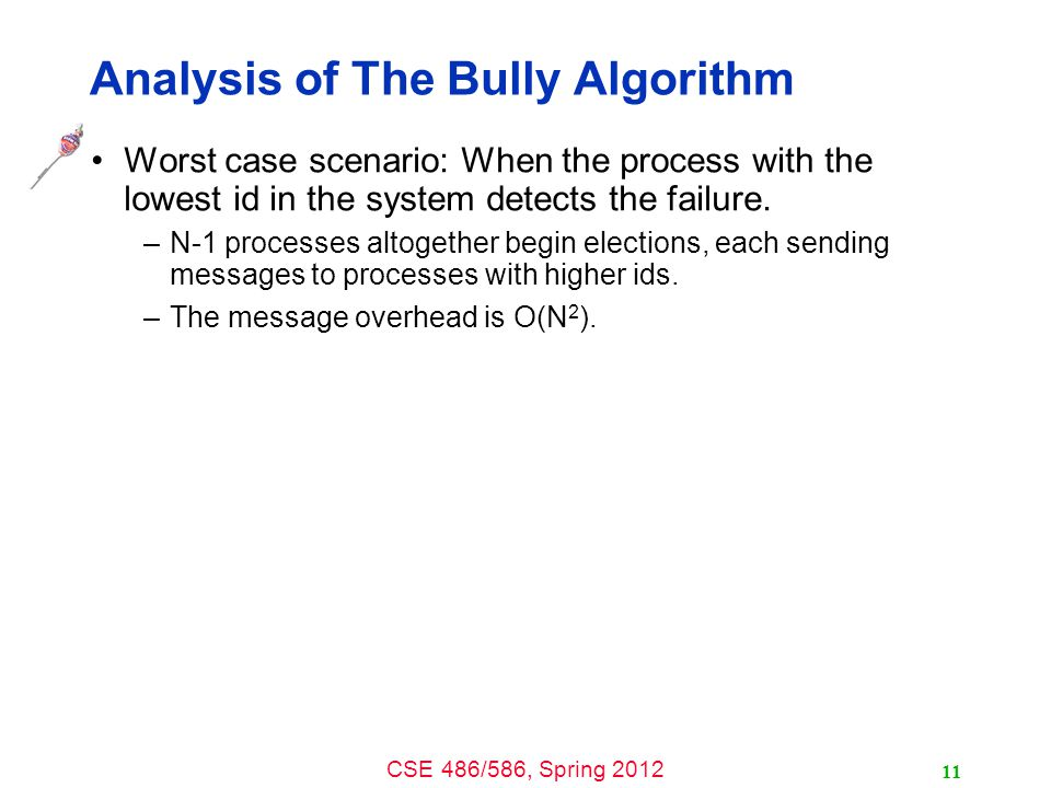 CSE 486/586, Spring 2012 Analysis of The Bully Algorithm Worst case scenario: When the process with the lowest id in the system detects the failure. –