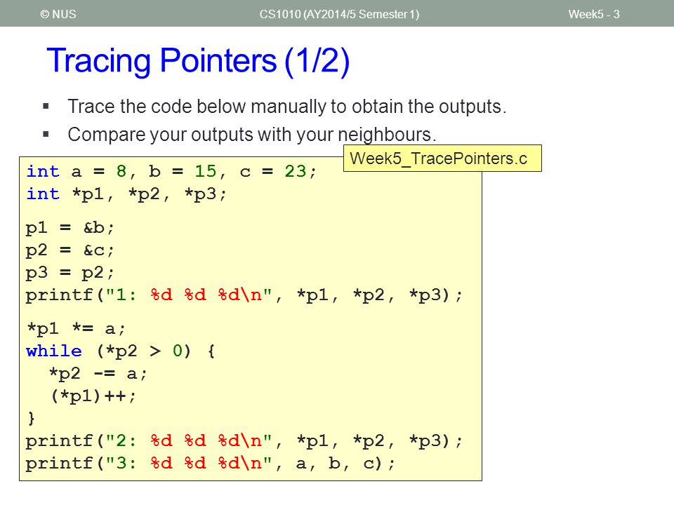 Tracing Pointers (1/2) CS1010 (AY2014/5 Semester 1)Week5 - 3© NUS  Trace the code below manually to obtain the outputs.