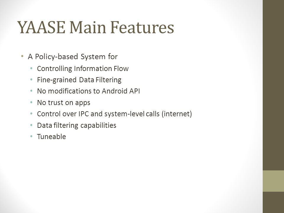 YAASE Architecture Grey = New components added Dashed = Modified Android components