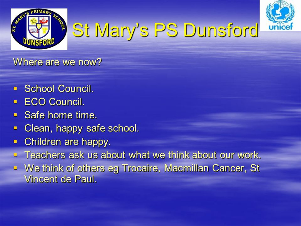 St Mary's PS Dunsford St Mary's PS Dunsford Where are we now.