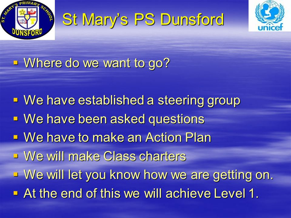 St Mary's PS Dunsford St Mary's PS Dunsford  Where do we want to go.