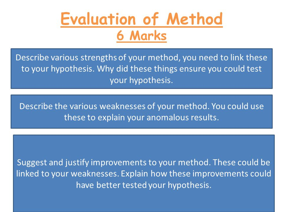 Evaluation of Method 6 Marks Describe various strengths of your method, you need to link these to your hypothesis.