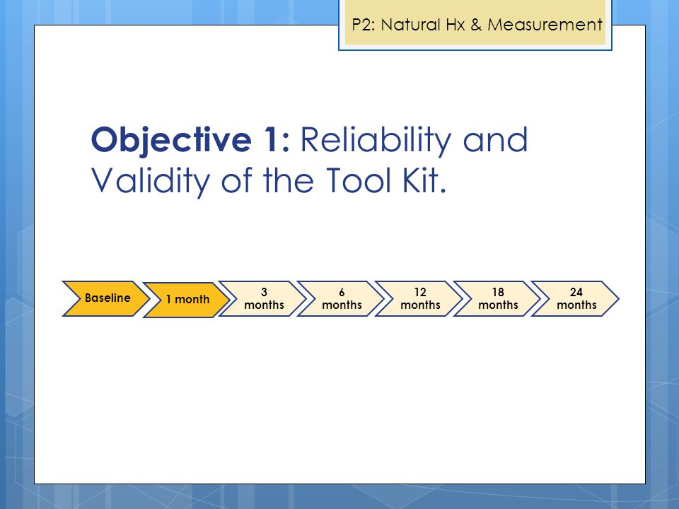 Objective 1: Reliability and Validity of the Tool Kit.