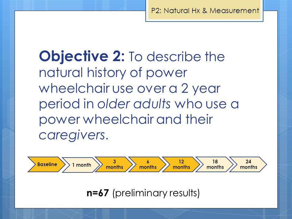 Objective 2: To describe the natural history of power wheelchair use over a 2 year period in older adults who use a power wheelchair and their caregiv