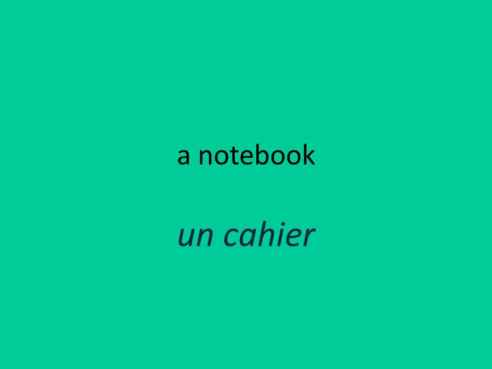 a notebook un cahier
