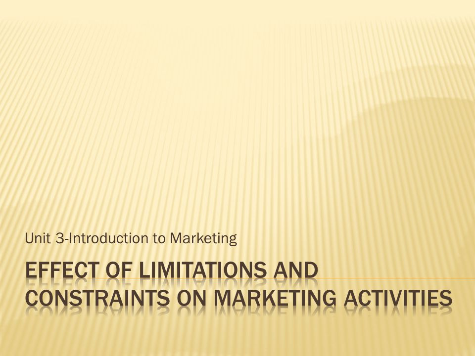 Unit 3-Introduction to Marketing
