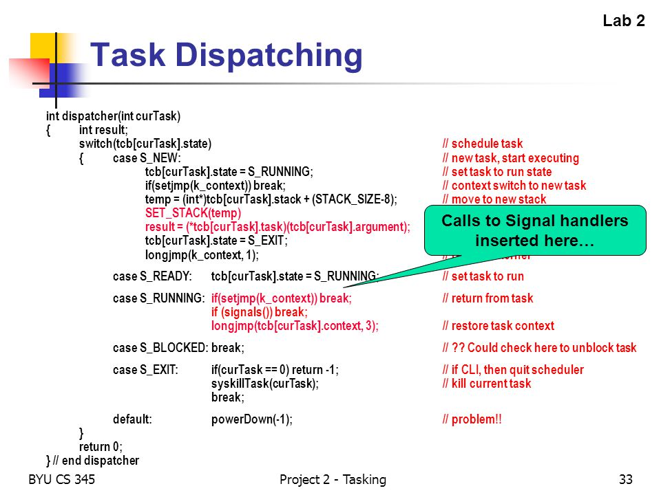 BYU CS 345Project 2 - Tasking33 Task Dispatching int dispatcher(int curTask) {int result; switch(tcb[curTask].state)// schedule task {case S_NEW:// ne