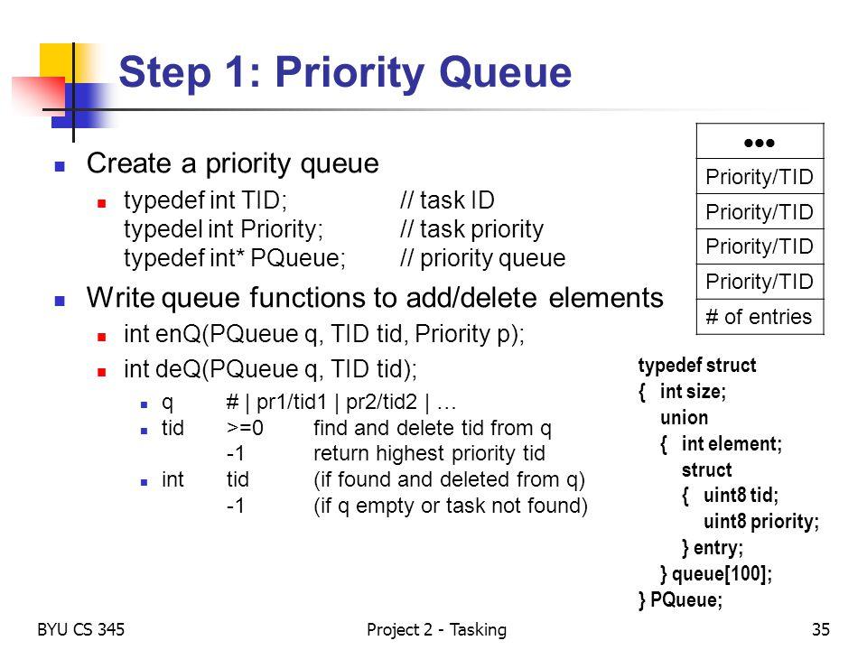 Step 1: Priority Queue Create a priority queue typedef int TID;// task ID typedel int Priority;// task priority typedef int* PQueue;// priority queue