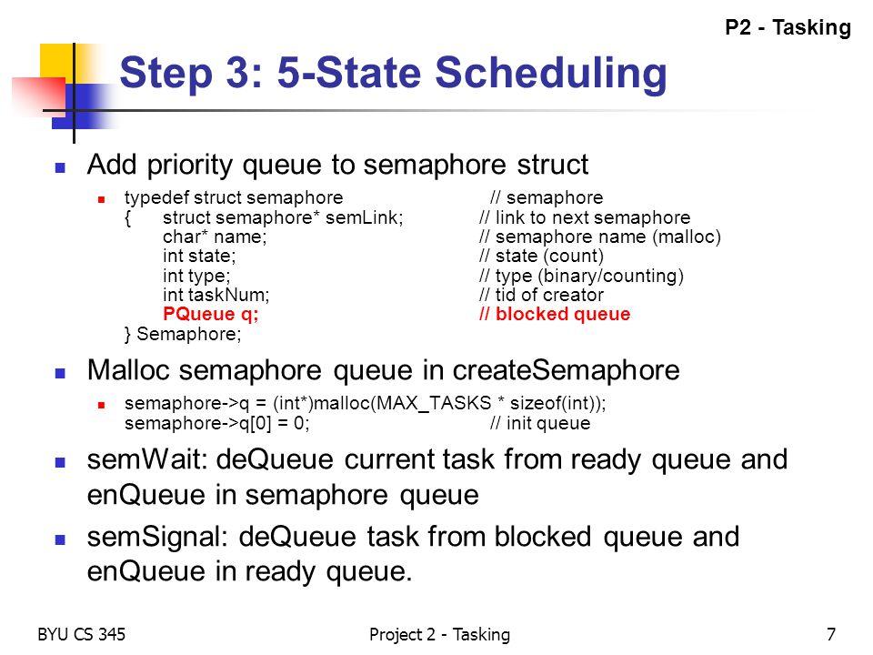 Step 3: 5-State Scheduling BYU CS 345 Add priority queue to semaphore struct typedef struct semaphore// semaphore {struct semaphore* semLink;// link t