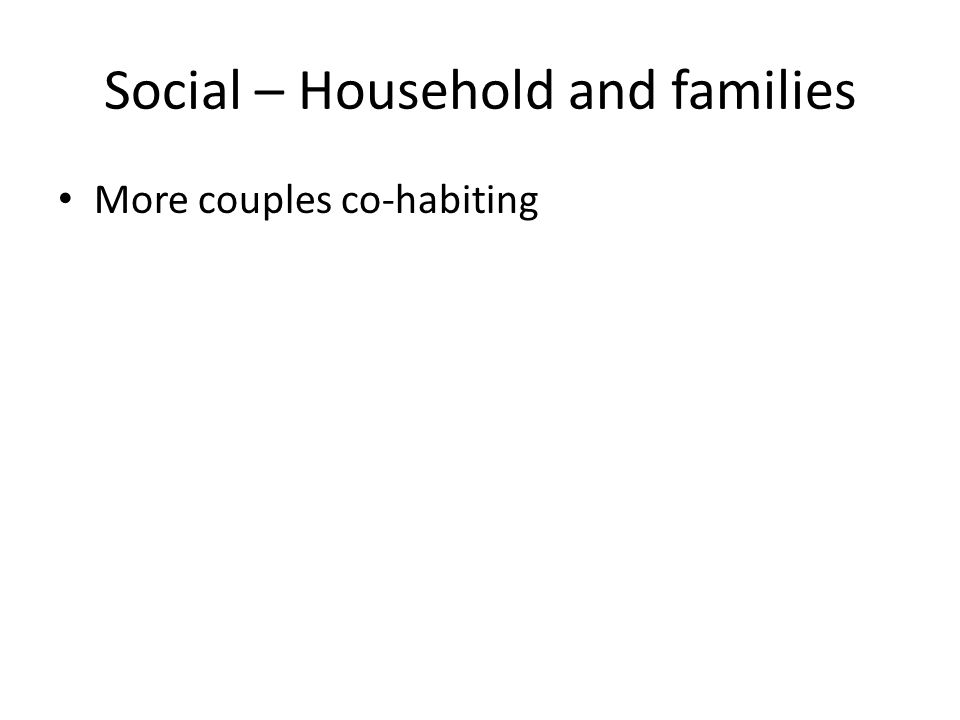 Social – Household and families More couples co-habiting
