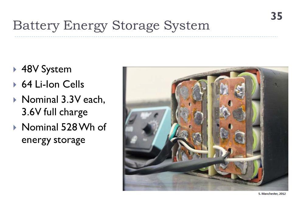 Battery Energy Storage System 35  48V System  64 Li-Ion Cells  Nominal 3.3V each, 3.6V full charge  Nominal 528 Wh of energy storage