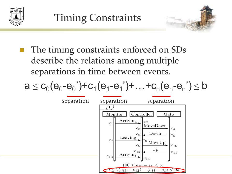 Timing Constraints The timing constraints enforced on SDs describe the relations among multiple separations in time between events.