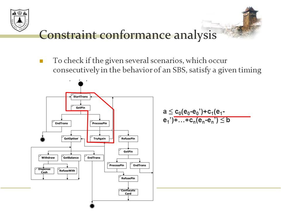 Constraint conformance analysis To check if the given several scenarios, which occur consecutively in the behavior of an SBS, satisfy a given timing c