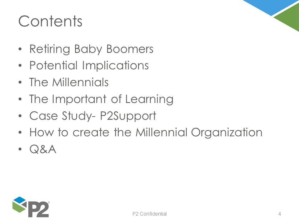 4 Retiring Baby Boomers Potential Implications The Millennials The Important of Learning Case Study- P2Support How to create the Millennial Organizati