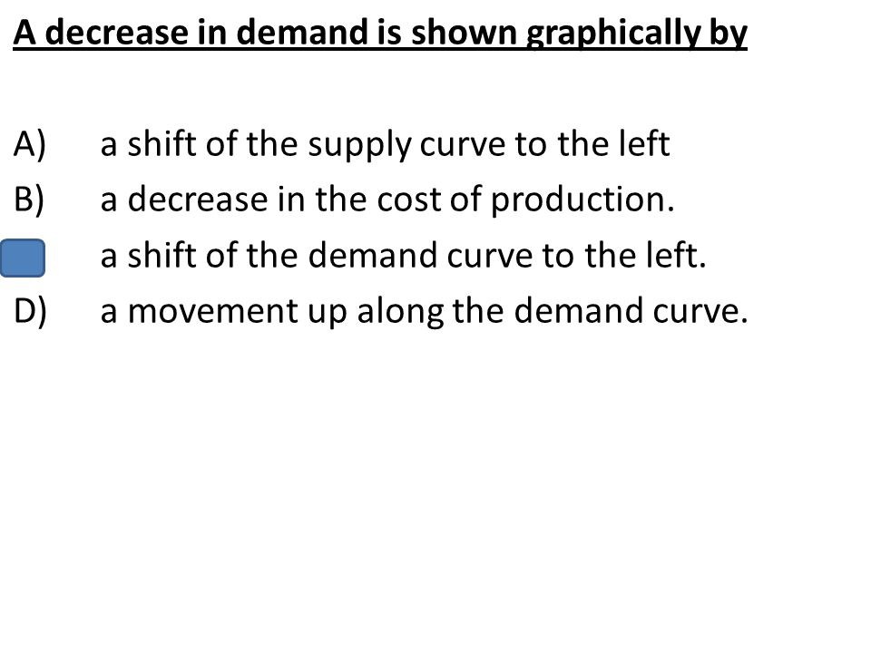 A decrease in demand is shown graphically by A)a shift of the supply curve to the left B)a decrease in the cost of production. C)a shift of the demand