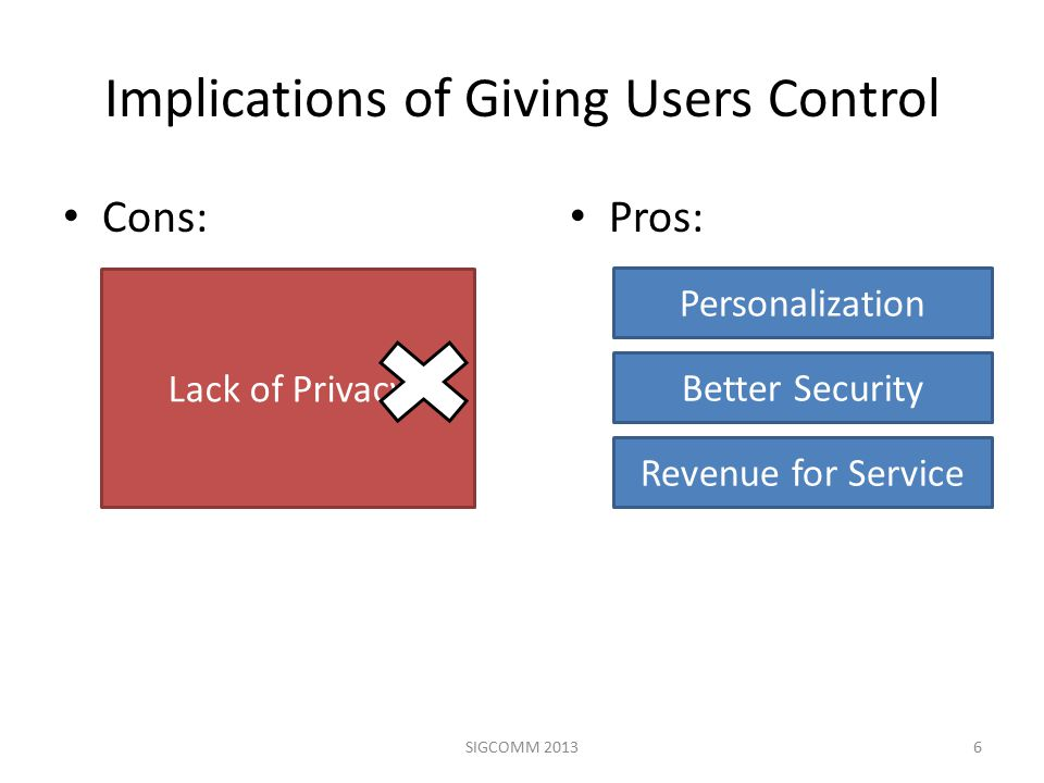 Current Defenses Provide Insufficient Control Current Defenses – Application Layer: Third-party cookie blocking, DoNotTrack – Network Layer: Tor, Proxies Limitations – Coarse-grained – Not cross-layer 7SIGCOMM 2013
