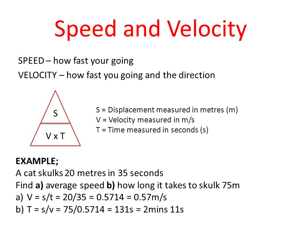 Speed and Velocity SPEED – how fast your going VELOCITY – how fast you going and the direction V x T S S = Displacement measured in metres (m) V = Vel