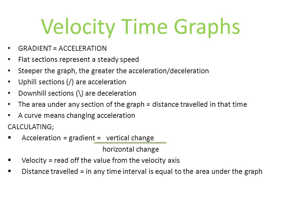Velocity Time Graphs GRADIENT = ACCELERATION Flat sections represent a steady speed Steeper the graph, the greater the acceleration/deceleration Uphil