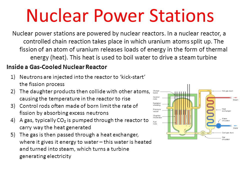 Nuclear Power Stations Nuclear power stations are powered by nuclear reactors. In a nuclear reactor, a controlled chain reaction takes place in which