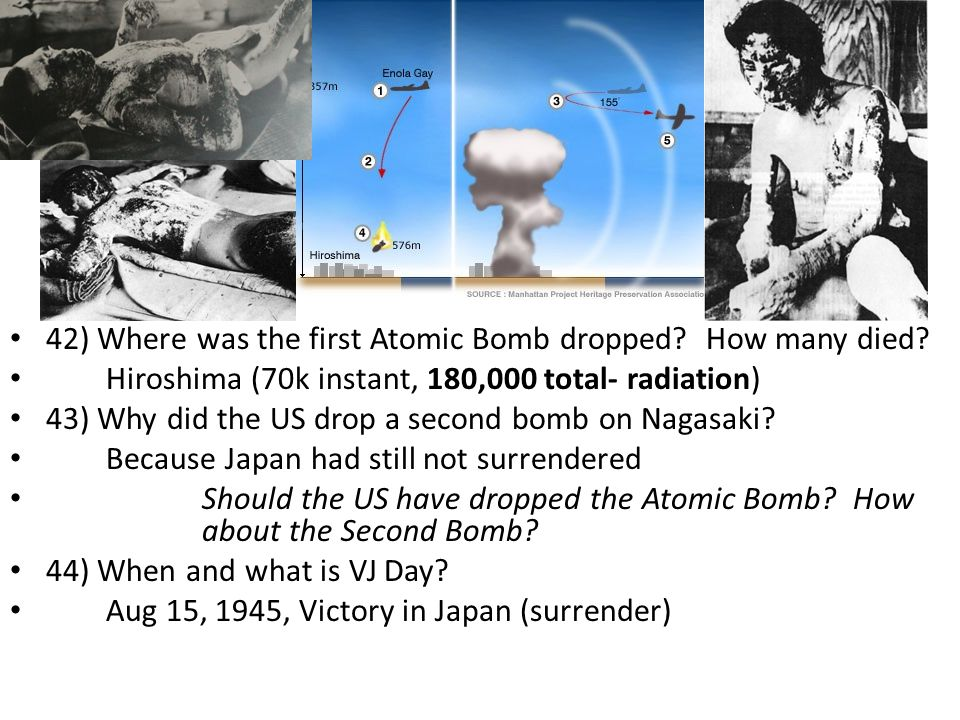 42) Where was the first Atomic Bomb dropped. How many died.