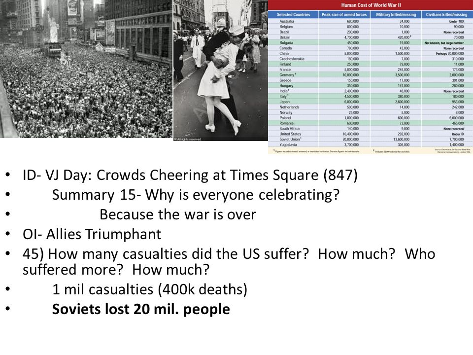 ID- VJ Day: Crowds Cheering at Times Square (847) Summary 15- Why is everyone celebrating.