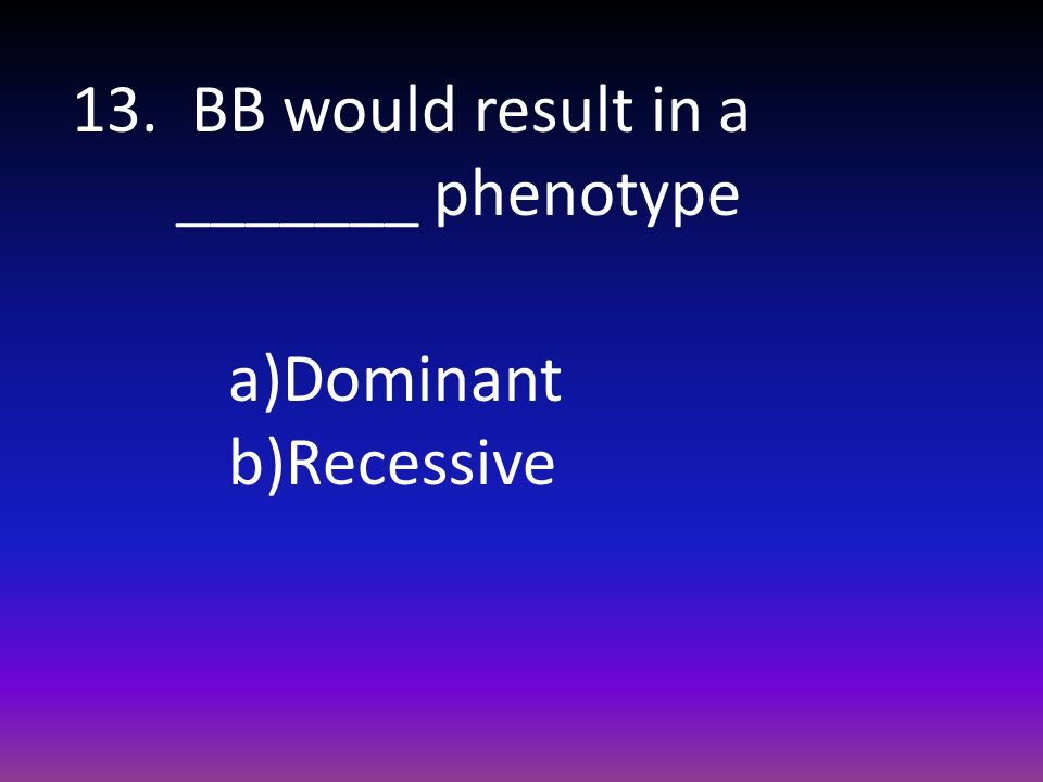 13. BB would result in a _______ phenotype a)Dominant b)Recessive