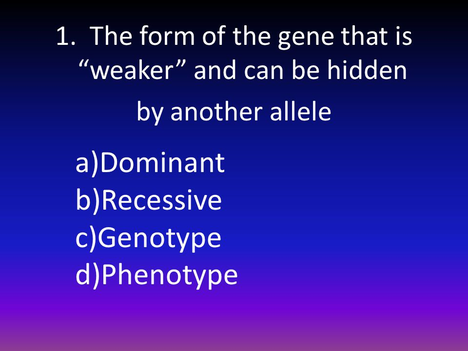 """1. The form of the gene that is """"weaker"""" and can be hidden by another allele a)Dominant b)Recessive c)Genotype d)Phenotype"""