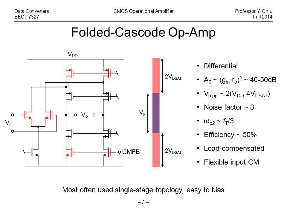 Folded-Cascode Op-Amp – 3 – Data ConvertersCMOS Operational AmplifierProfessor Y. Chiu EECT 7327Fall 2014 Differential A 0 ~ (g m ·r o ) 2 ~ 40-50dB V