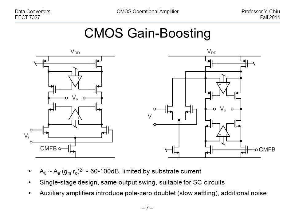 CMOS Gain-Boosting – 7 – Data ConvertersCMOS Operational AmplifierProfessor Y. Chiu EECT 7327Fall 2014 A 0 ~ A a ·(g m ·r o ) 2 ~ 60-100dB, limited by