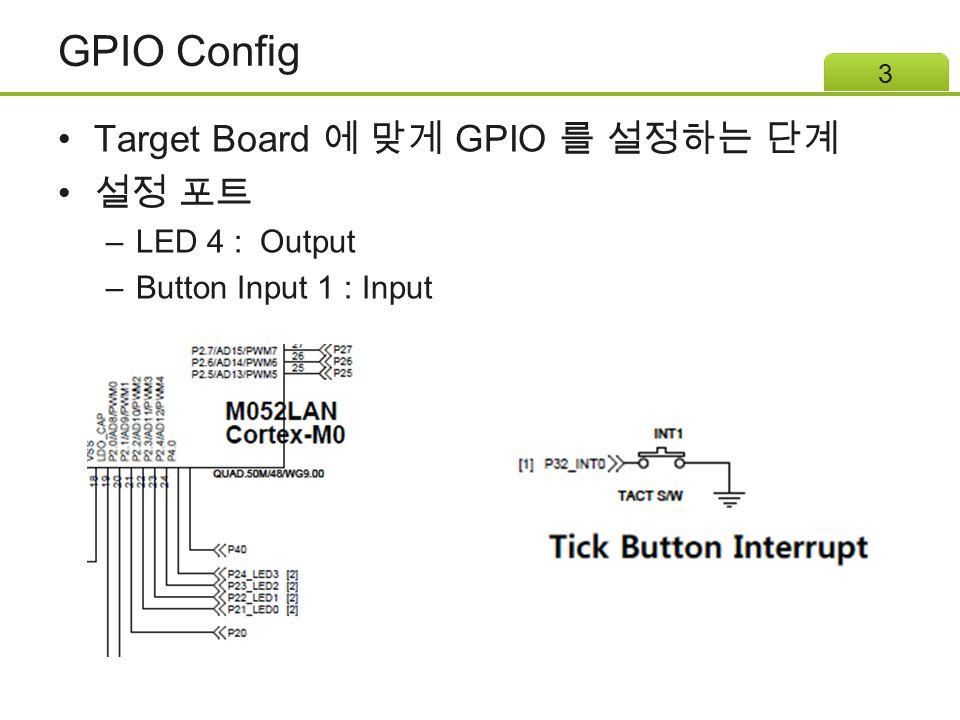 GPIO Config Target Board 에 맞게 GPIO 를 설정하는 단계 설정 포트 –LED 4 : Output –Button Input 1 : Input 3