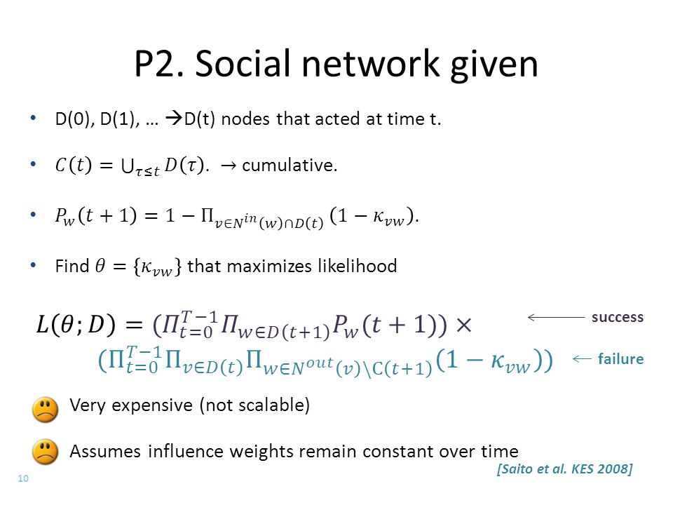 P2. Social network given 10 success failure