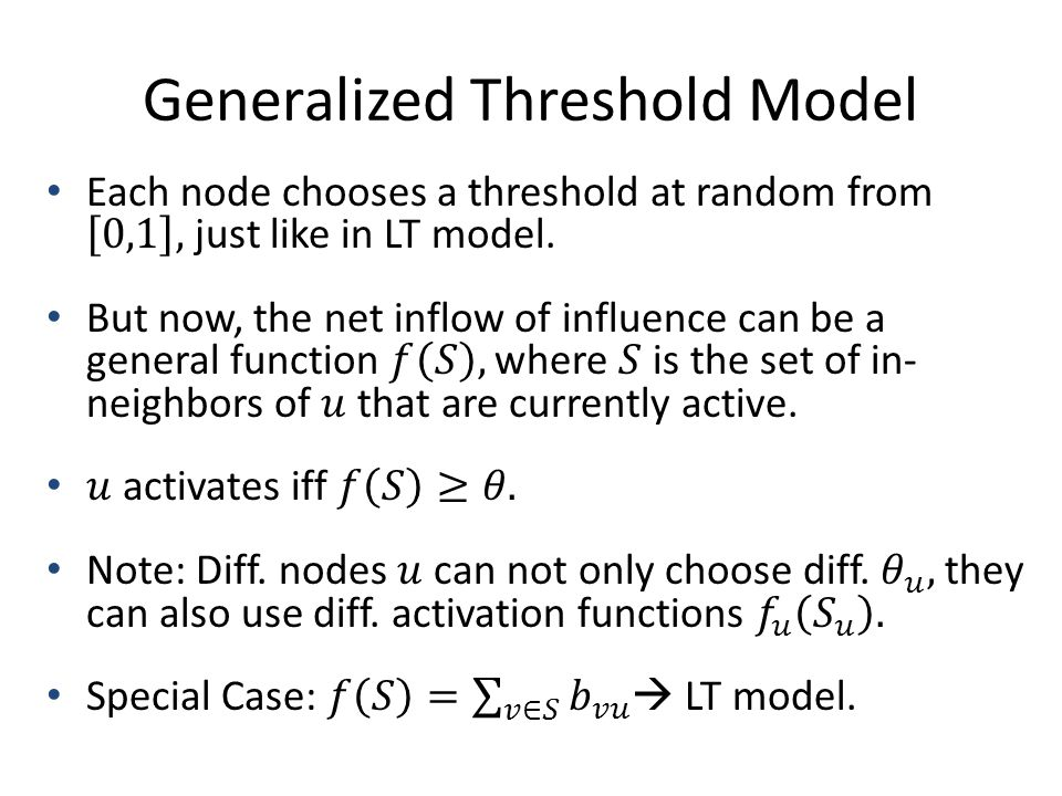 Generalized Threshold Model
