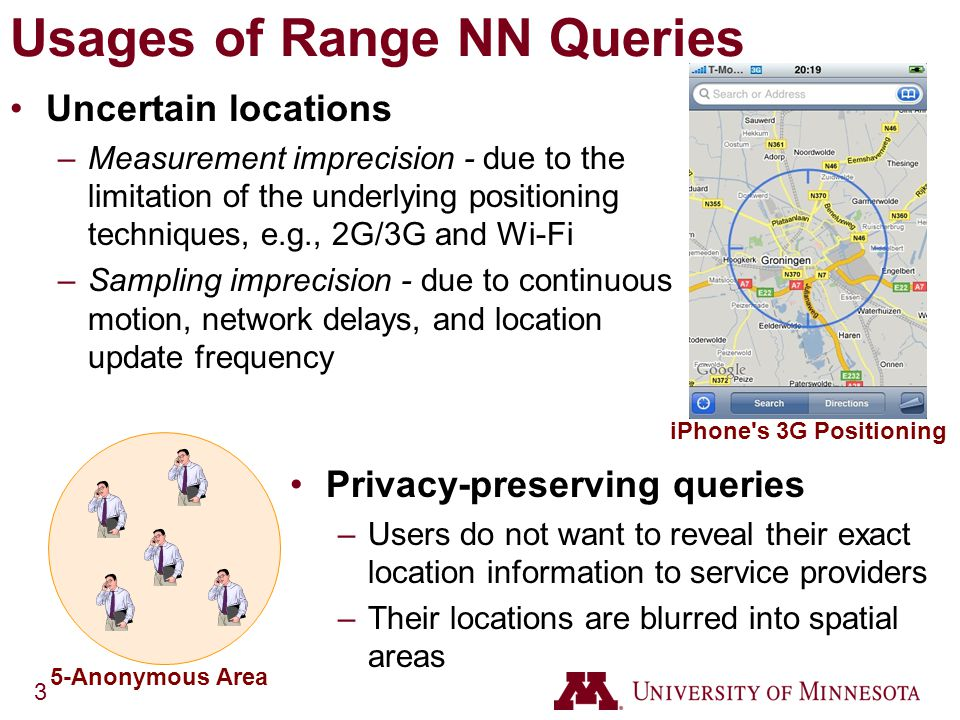 3 Usages of Range NN Queries Uncertain locations –Measurement imprecision - due to the limitation of the underlying positioning techniques, e.g., 2G/3G and Wi-Fi –Sampling imprecision - due to continuous motion, network delays, and location update frequency Privacy-preserving queries –Users do not want to reveal their exact location information to service providers –Their locations are blurred into spatial areas iPhone s 3G Positioning 5-Anonymous Area