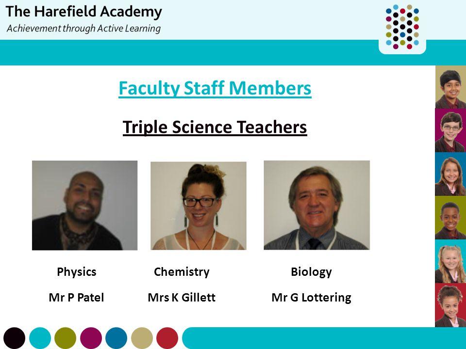 Faculty Staff Members Triple Science Teachers PhysicsChemistryBiology Mr P PatelMrs K GillettMr G Lottering