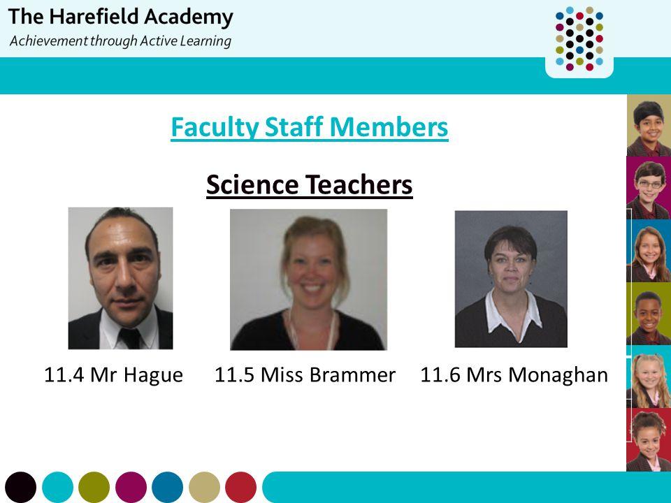 Faculty Staff Members Science Teachers 11.4 Mr Hague11.5 Miss Brammer11.6 Mrs Monaghan