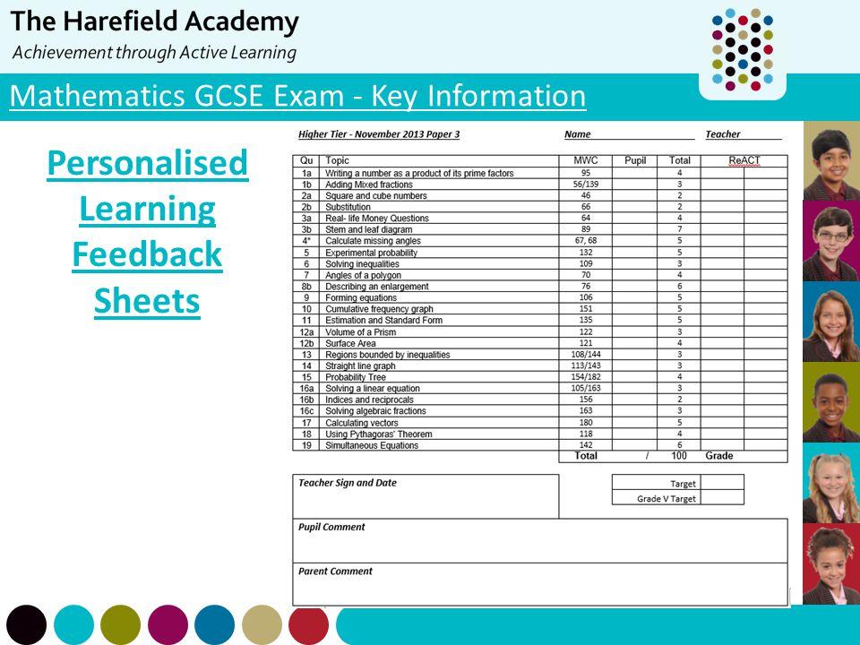 Mathematics GCSE Exam - Key Information Personalised Learning Feedback Sheets