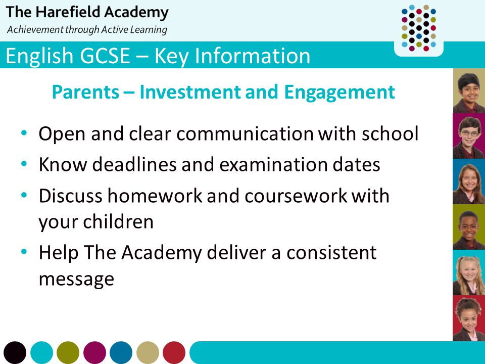 English GCSE – Key Information Parents – Investment and Engagement Open and clear communication with school Know deadlines and examination dates Discu