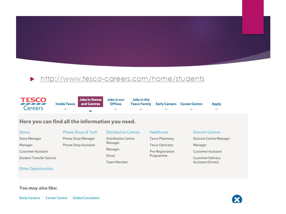 http://www.tesco-careers.com/home/students http://www.tesco-careers.com/home/students