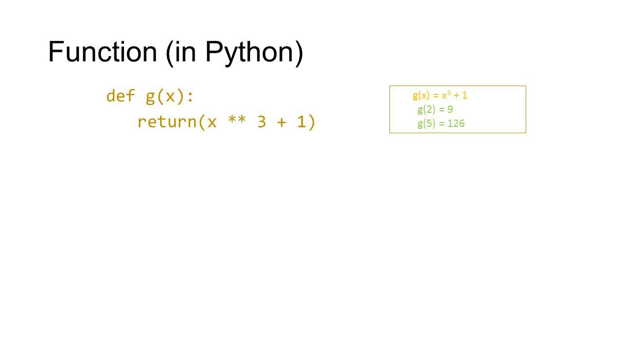 Function (in Python) def g(x): return(x ** 3 + 1) g(x) = x 3 + 1 g(2) = 9 g(5) = 126